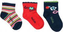 BOBOLI Set ponožek 3 ks, 16/18 - červená/potisk, holky