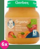 6x GERBER Organic Jabłko brzoskwinia morela 4m+ (125 g)