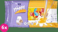 6x BELLA HAPPY BABY Vlhčené ubrousky mléko a med 64 ks