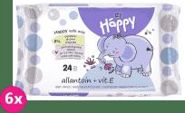 6x BELLA HAPPY BABY Vlhčené ubrousky s vitamínem E 24 ks