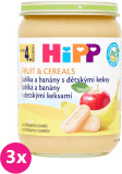 3x HIPP BIO Jablka a banány s dětskými keksy (190 g) - ovocný příkrm
