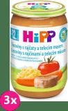 3x HIPP BIO rajčata s těstovinami a telecím masem (220 g) - maso-zeleninový příkrm