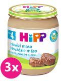 3x HIPP BIO Hovězí maso (125 g) - masový příkrm