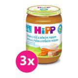 3x HIPP BIO Karotka s rýží a telecím masem (190 g) - maso-zeleninový příkrm