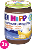 3x HIPP BIO Na dobrú noc krupicová s banánom (190 g) - mliečna kaša