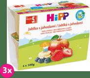 3x HiPP BIO Jablka s jahodami (4x 100 g) - ovocný příkrm
