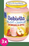 3x BEBIVITA Ovoce & jogurt, jablka, jahody 190 g – ovocný příkrm