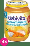 3x BEBIVITA Smetanové brambory s mrkví a kuřecím masem (190 g) – masozeleninový příkrm