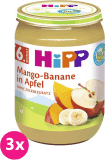 3x HIPP BIO Jablko s mangem a banány, 190 g - ovocný přírkm