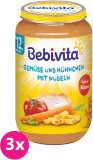 3x BEBIVITA Zelenina a kuřecí maso s nudlemi (250 g) - masozeleninový příkrm