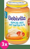 3x BEBIVITA Zelenina s rýží a krůtím masem (220 g) - masozeleninový příkrm