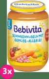 3x BEBIVITA Těstoviny se šunkou a zeleninovou směsí (220 g) - masozeleninový příkrm