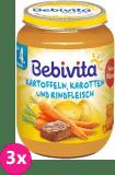 3x BEBIVITA Mrkev a brambory s hovězím masem (190 g) - masozeleninový příkrm