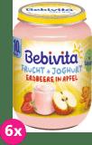 6x BEBIVITA Ovoce & jogurt, jablka, jahody 190 g – ovocný příkrm