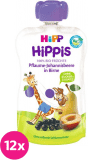 12x HIPP HiPPiS BIO 100% ovoce Hruška-Černý rybíz-Švestka 100 g – ovocný příkrm