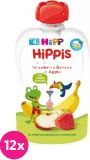 12x HIPP HiPPiS BIO 100% ovoce Jablko-Banán-Jahoda 100 g – ovocný příkrm