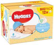 12x HUGGIES® Quatro Pack Pure 56 ks - vlhčené obrúsky
