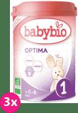 3x BABYBIO Optima 1 počáteční mléčná kojenecká výživa v prášku 900 g