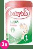3x BABYBIO Lunea 1 počáteční mléčná kojenecká výživa v prášku 900 g