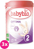 3x BABYBIO Optima 2 pokračujúca mliečna dojčenská výživa v prášku 900 g