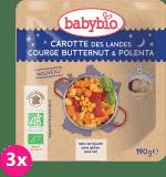 3x BABYBIO Večerní menu mrkev s máslovou dýní a polentou 190 g