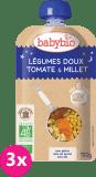 3x BABYBIO Słodkie warzywa, pomidory i proso 6m+ (120 g) w tubce