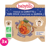 3x BABYBIO Večerné menu mrkva a sladká kukurica s quinoa 230 g