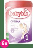 6x BABYBIO Optima 1 počáteční mléčná kojenecká výživa v prášku 900 g