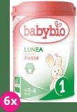 6x BABYBIO Lunea 1 počáteční mléčná kojenecká výživa v prášku 900 g