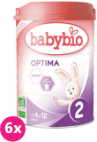 6x BABYBIO Optima 2 pokračovací mléčná kojenecká výživa v prášku 900 g
