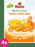 4x HOLLE Organická zeleninová kaše dýně kukuřice rýže - 250 g
