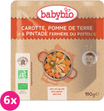 6x BABYBIO Marchewka z ziemniakiem i perliczką 8m+ (190 g) – obiadek mięsno-warzywny