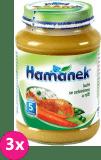 3x HAMÁNEK Kuře se zeleninou a rýží (190 g) - masozeleninový příkrm