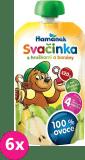 6x HAMÁNEK Svačinka 100% ovoce s hruškami a banány, (120 g) - ovocný příkrm