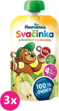3x HAMÁNEK Svačinka 100% ovoce s hruškami a banány, (120 g) - ovocný příkrm