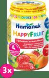 3x HAMÁNEK HappyFruit 100% S jahodou a meruňkou, (190 g) - ovocný příkrm