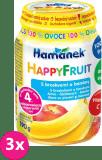 3x HAMÁNEK HappyFruit 100% S broskvemi a banánem, (190 g) - ovocný příkrm