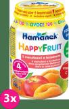 3x HAMÁNEK HappyFruit 100% s broskvemi a meruňkou, (190 g) - ovocný příkrm