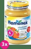 3x HAMÁNEK Ovocný príkrm s broskyňami a tvarohom (190 g) - ovocný príkrm