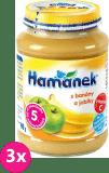 3x HAMÁNEK S jablky a banány (190 g) - ovocný příkrm