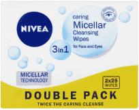 NIVEA Čisticí pleťové micelární ubrousky 3v1 Duopack 2x25 ks