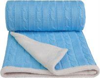 T-TOMI Pletená deka WINTER, modrá