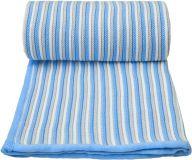 T-TOMI Koc dzianinowy – biało-niebieski