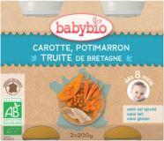 BABYBIO Mrkva a tekvica so pstruhom 2x200 g - mäsovo-zeleninový príkrm
