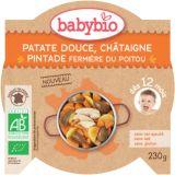 BABYBIO Słodkie ziemniaki z musem kasztanowym i perliczką 230 g – mięsno-warzywne danie
