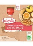 BABYBIO Jablko pomeranč banán (4x 90 g) - ovocný příkrm