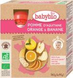 BABYBIO Jablko pomaranč banán 4x90 g – ovocný príkrm