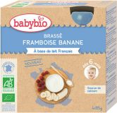 BABYBIO Mliečny dezert malina banán 4x85 g