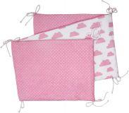 T-TOMI Skladaný mantinel do postieľky, white/pink clouds