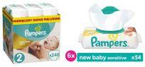 PAMPERS Premium Care Mini 240szt. + New Baby sensitive Chustezki 6x54szt.